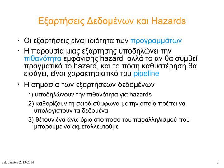 Εξαρτήσεις Δεδομένων και Hazards