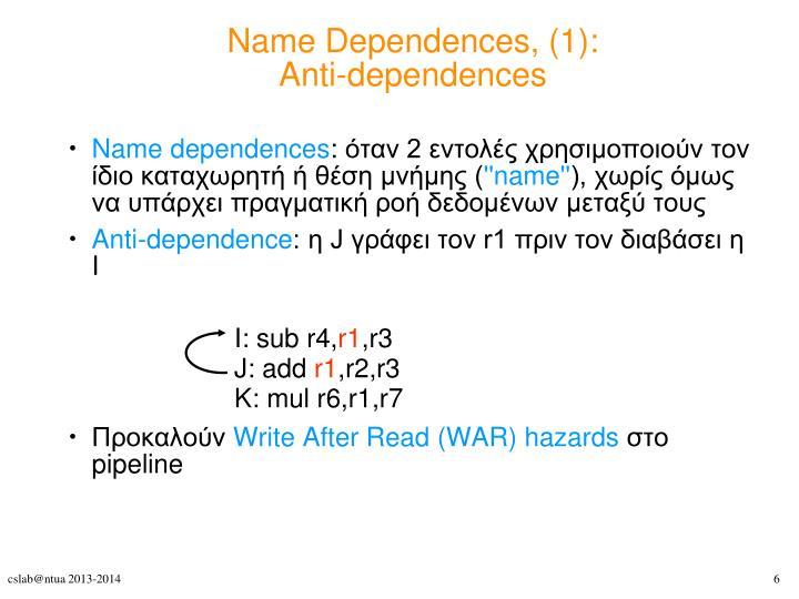 Name Dependences, (1):