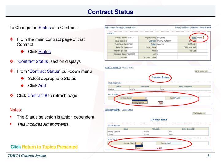 Contract Status