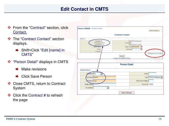 Edit Contact in CMTS
