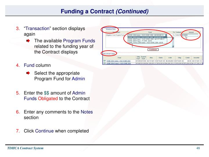 Funding a Contract