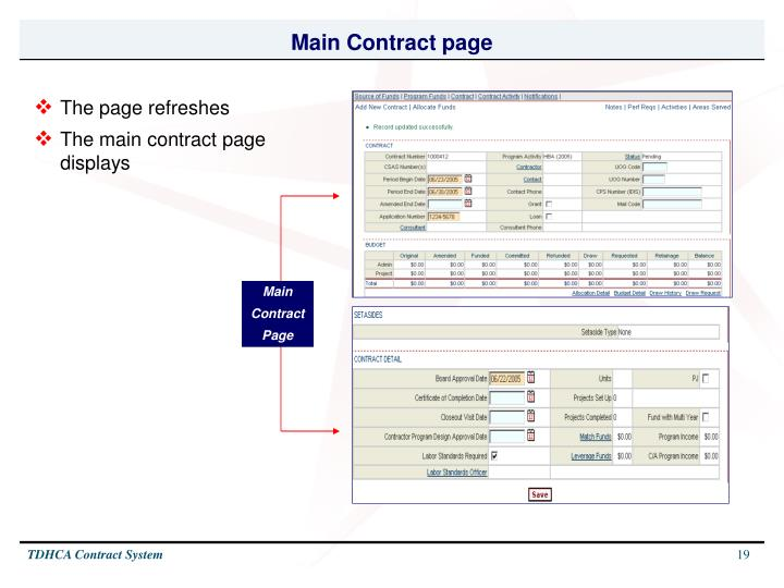 Main Contract page