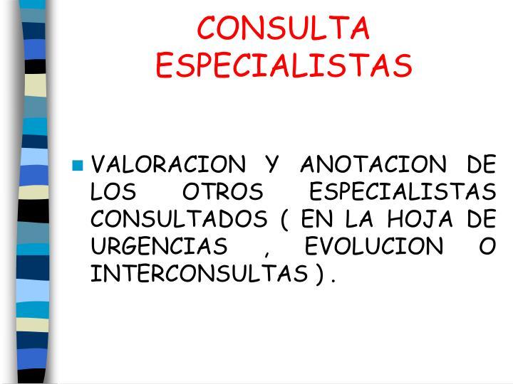 CONSULTA ESPECIALISTAS
