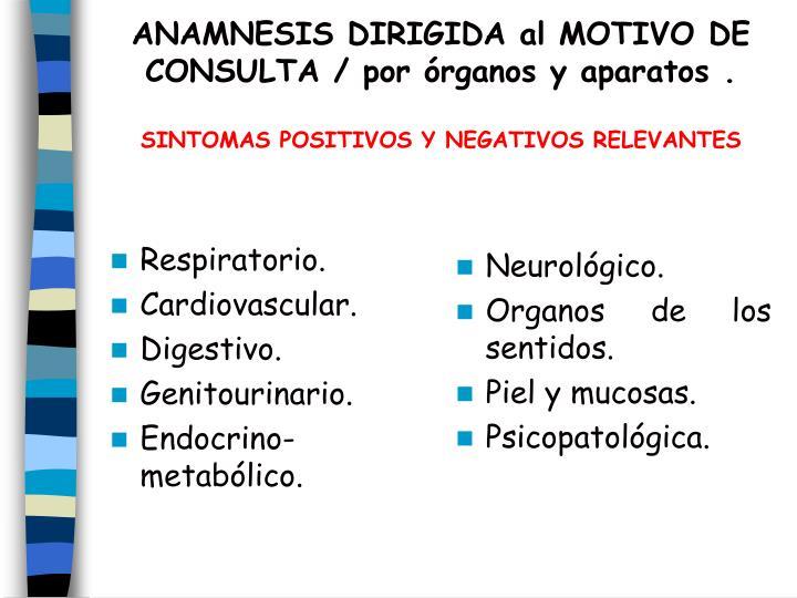 ANAMNESIS DIRIGIDA al MOTIVO DE CONSULTA / por órganos y aparatos .