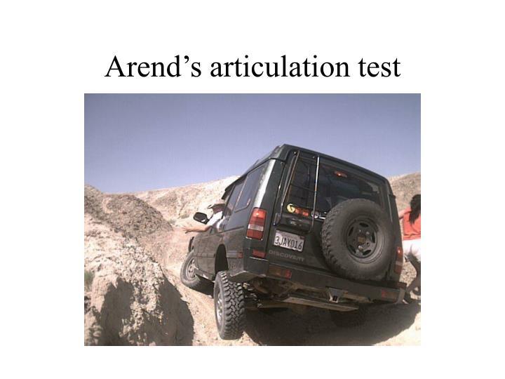 Arend's articulation test