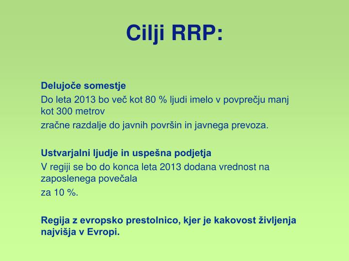 Cilji RRP: