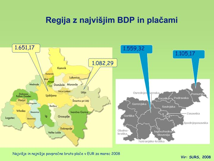 Regija z najvišjim BDP in plačami