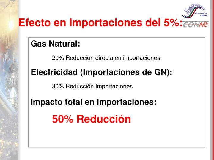 Efecto en Importaciones del 5%:
