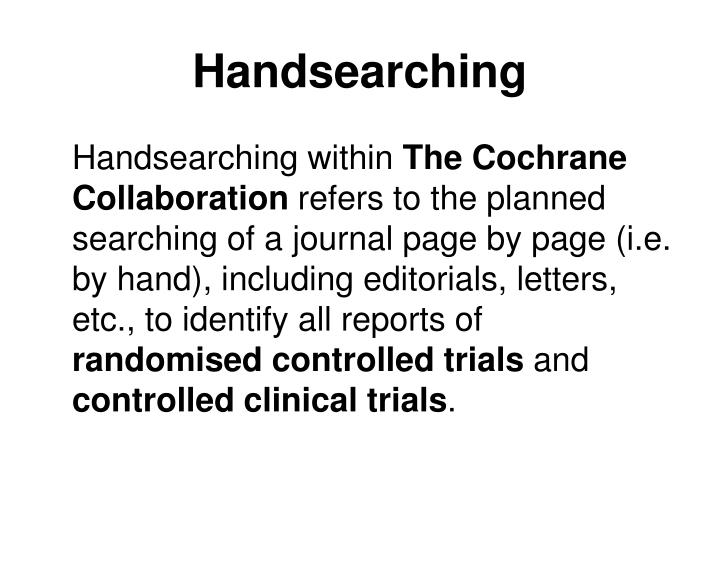 Handsearching