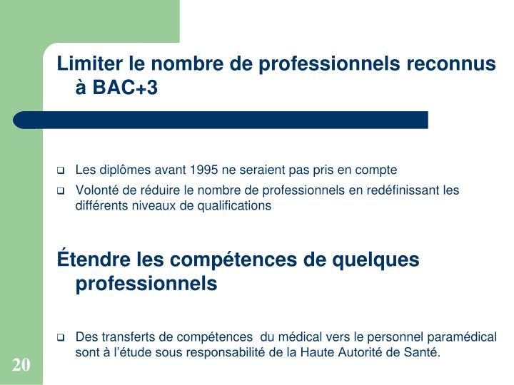 Limiter le nombre de professionnels reconnus à BAC+3