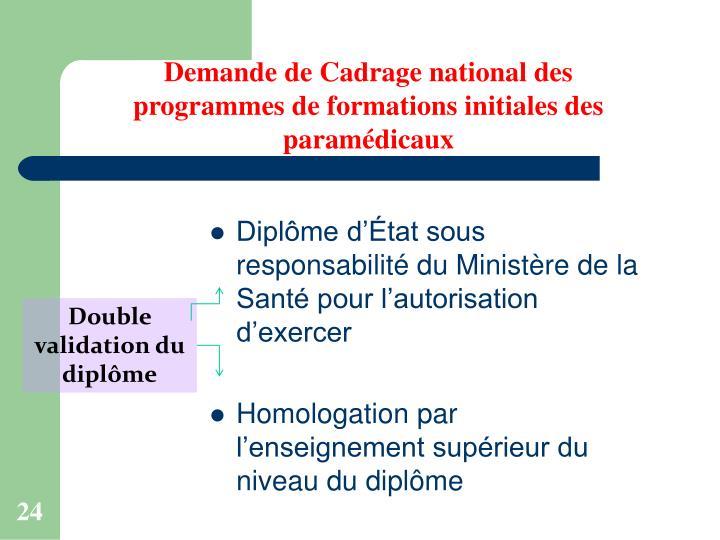 Demande de Cadrage national des programmes de formations initiales des paramédicaux