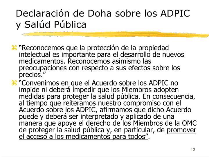 Declaración de Doha sobre los ADPIC y Salúd Pública