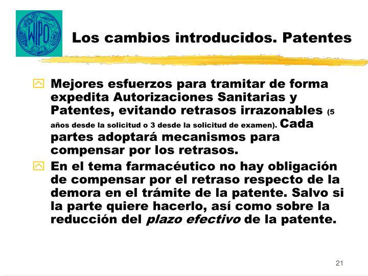 Los cambios introducidos. Patentes