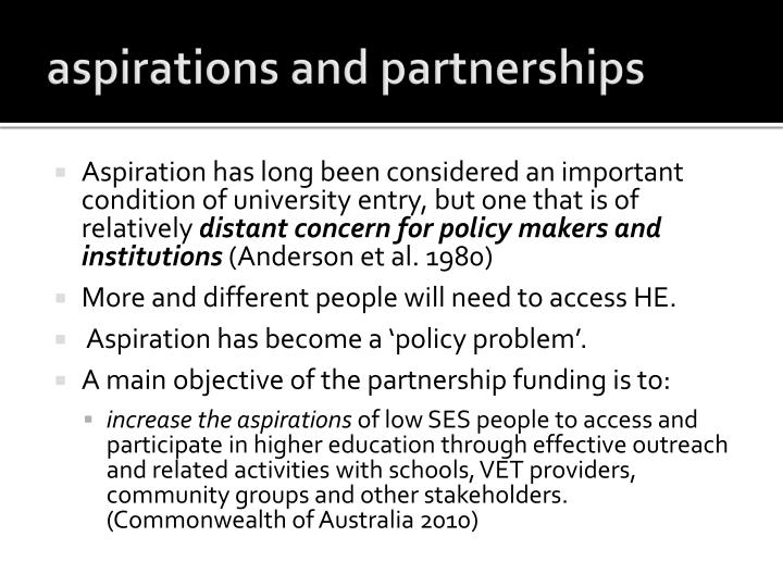 aspirations and partnerships