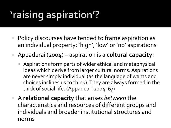 'raising aspiration'?
