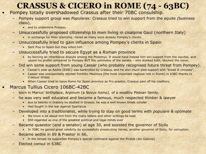 CRASSUS & CICERO in ROME (74 - 63BC)