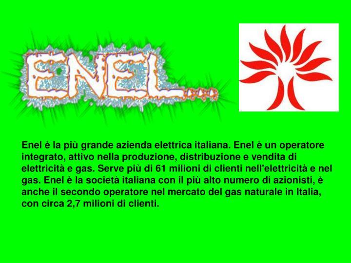 Enel è la più grande azienda elettrica italiana. Enel è un operatore integrato, attivo nella produzione, distribuzione e vendita di elettricità e gas. Serve più di 61 milioni di clienti nell'elettricità e nel gas. Enel è la società italiana con il più alto numero di azionisti, è anche il secondo operatore nel mercato del gas naturale in Italia, con circa 2,7 milioni di clienti.