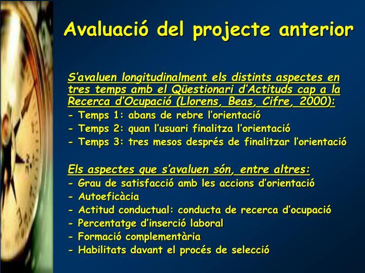 Avaluació del projecte anterior