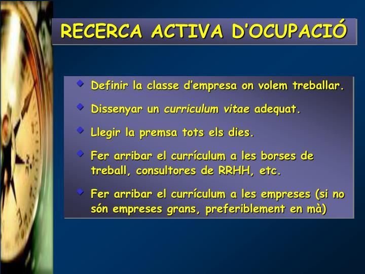 RECERCA ACTIVA D'OCUPACIÓ