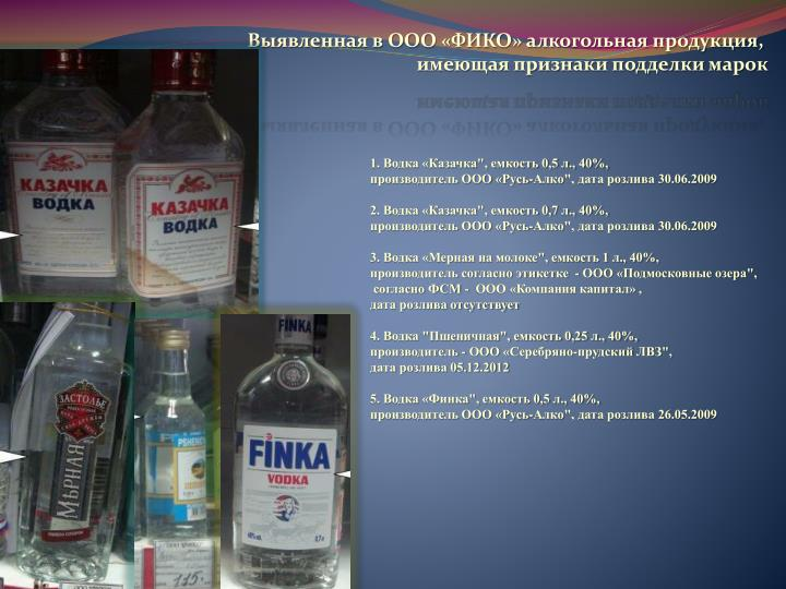Выявленная в ООО «ФИКО» алкогольная продукция,