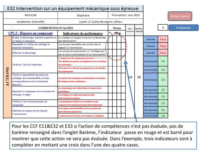 Pour les CCF E11&E32 et E33 si l'action de compétences n'est pas évaluée, pas de barème renseigné dans l'onglet Barème, l'indicateur  passe en rouge et est barré pour montrer que cette action ne sera pas évaluée. Dans l'exemple, trois indicateurs sont à compléter en mettant une croix dans l'une des quatre cases.