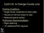 cyril s dr to orange county line
