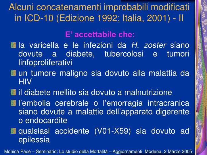 Alcuni concatenamenti improbabili modificati in ICD-10 (Edizione 1992; Italia, 2001) - II