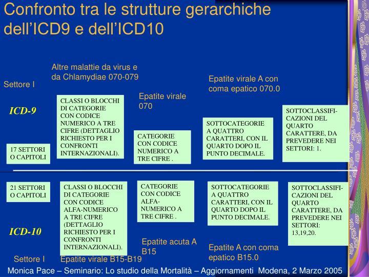 Confronto tra le strutture gerarchiche dell'ICD9 e dell'ICD10