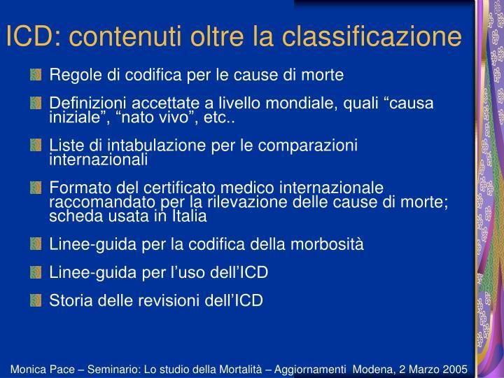 ICD: contenuti oltre la classificazione