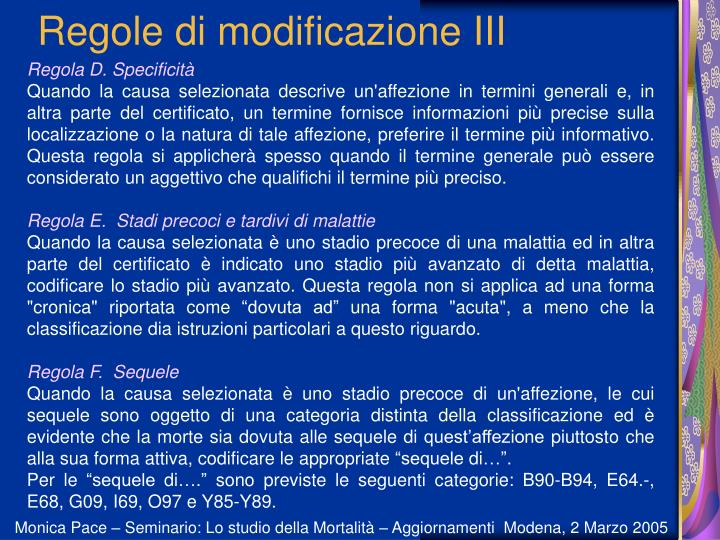 Regole di modificazione III