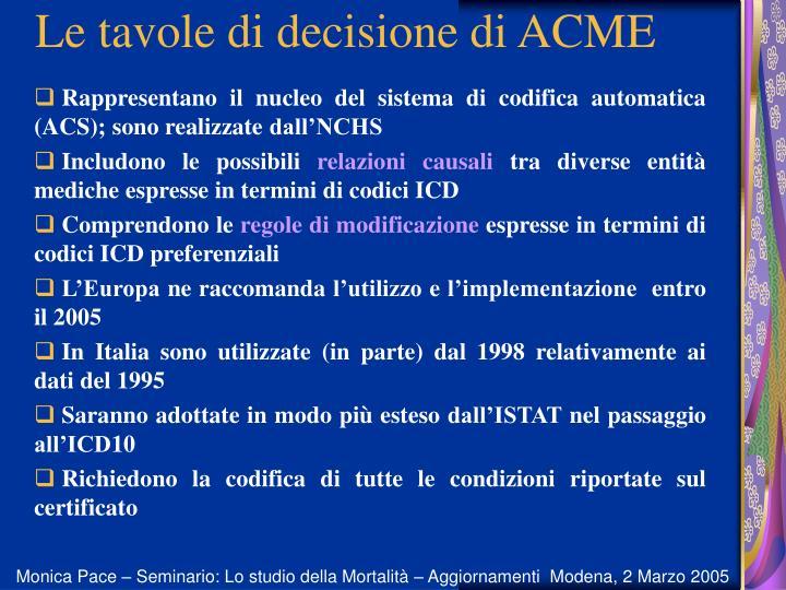 Le tavole di decisione di ACME