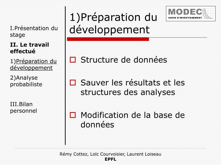 1)Préparation du développement