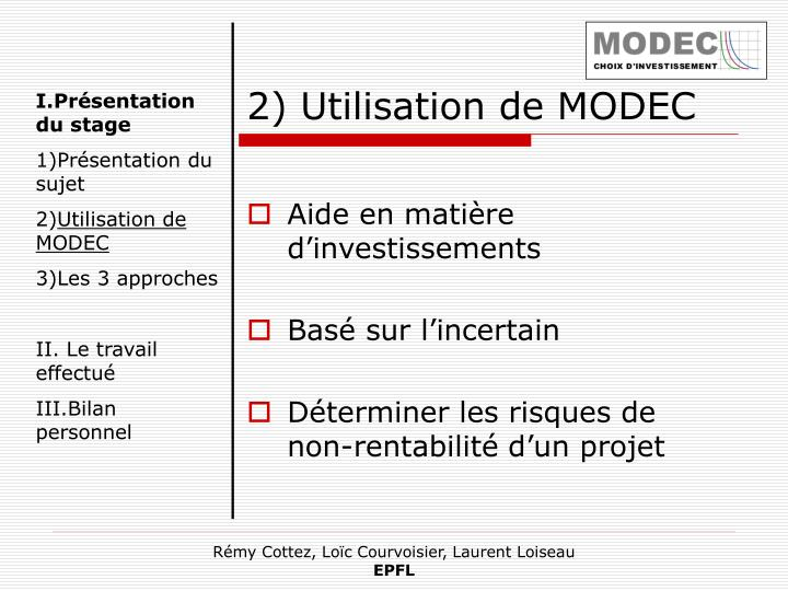 2) Utilisation de MODEC