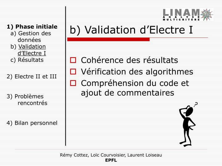 b) Validation d'Electre I