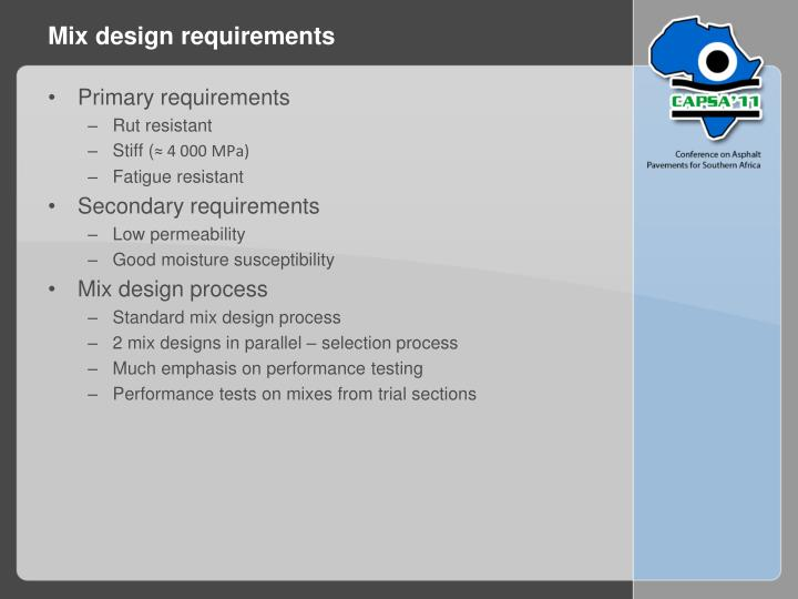 Mix design requirements