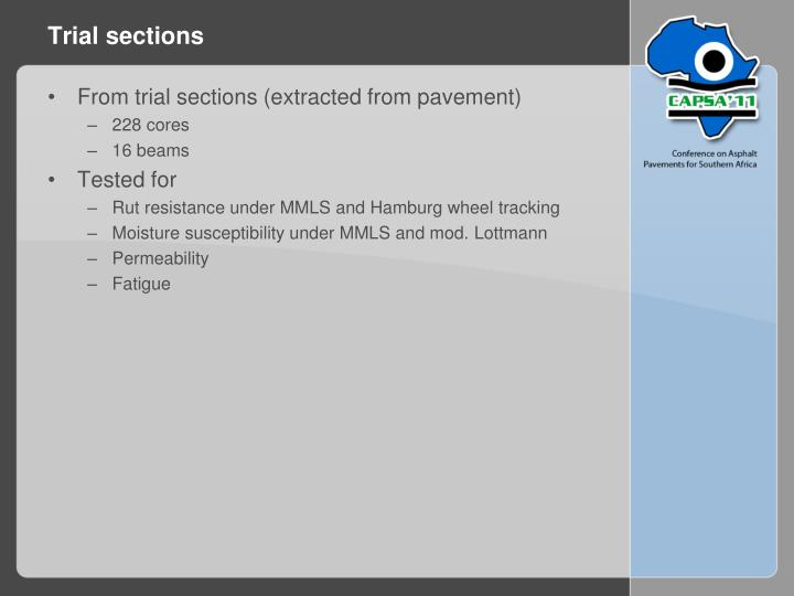 Trial sections