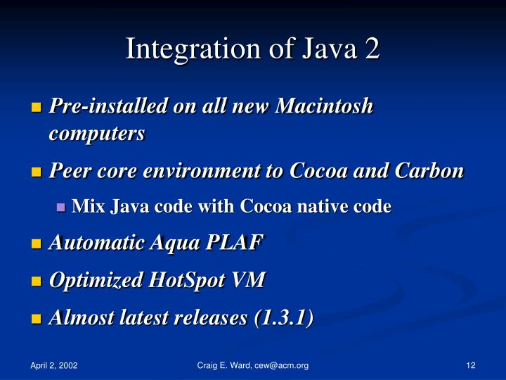 Integration of Java 2