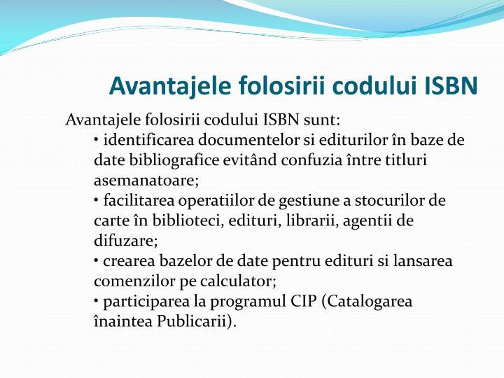 Avantajele folosirii codului ISBN