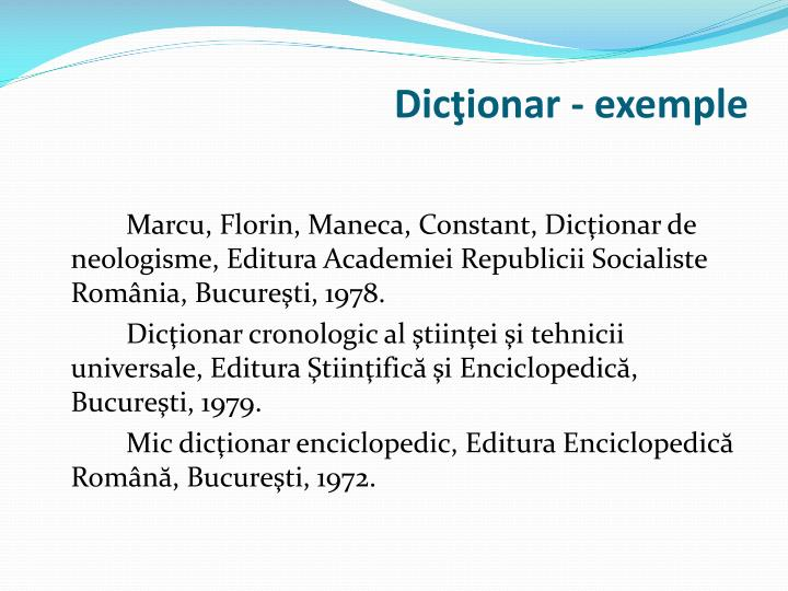 Dicţionar - exemple
