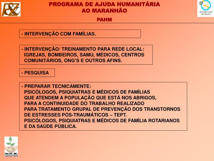 - INTERVENÇÃO COM FAMÍLIAS.