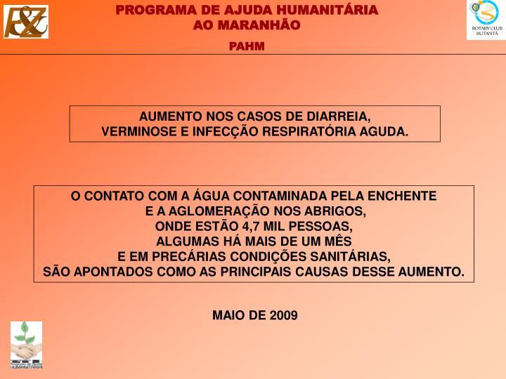AUMENTO NOS CASOS DE DIARREIA,