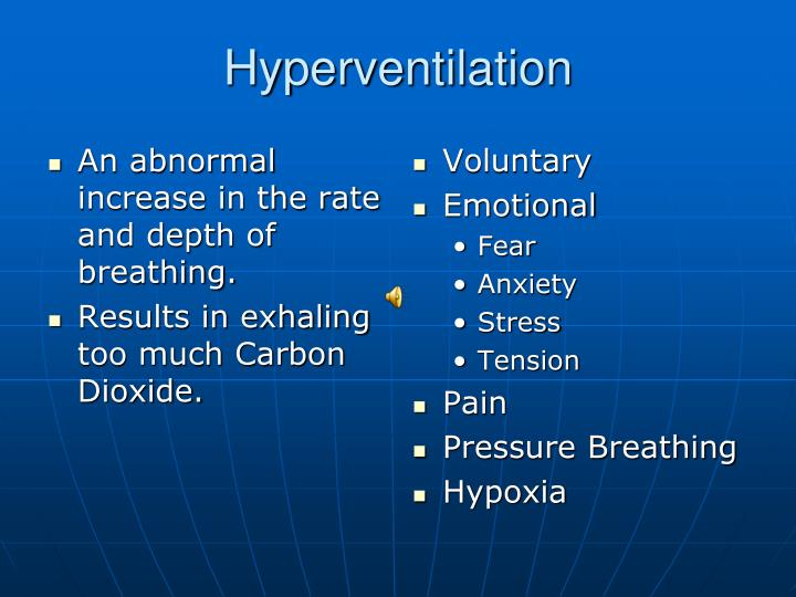 An abnormal increase in the rate and depth of breathing.