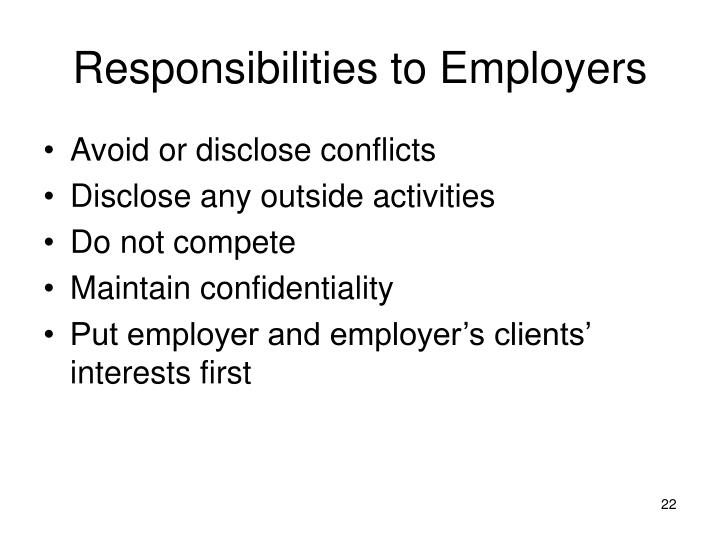 Responsibilities to Employers