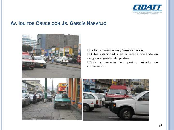 Av. Iquitos Cruce con Jr. García Naranjo