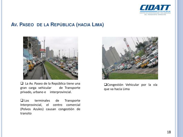 Av. Paseo  de la República (hacia Lima)