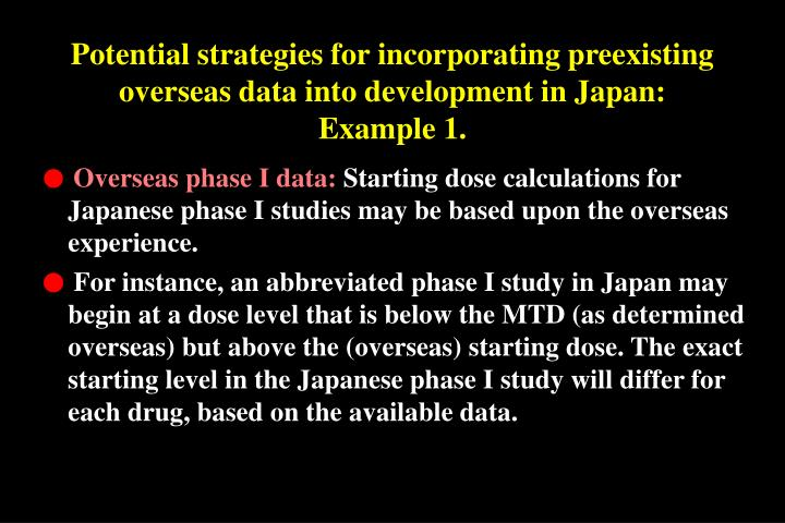Potential strategies for incorporating preexisting overseas data into development in Japan: Example 1.