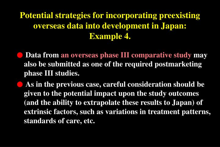 Potential strategies for incorporating preexisting overseas data into development in Japan: Example 4.