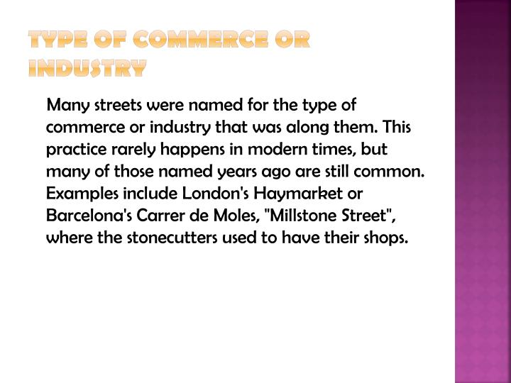 Type of commerce or industry
