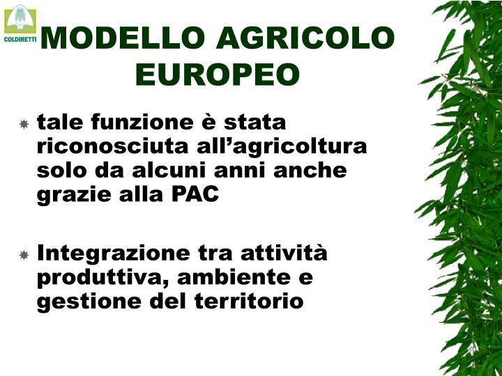 MODELLO AGRICOLO EUROPEO