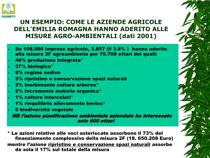 UN ESEMPIO: COME LE AZIENDE AGRICOLE DELL'EMILIA ROMAGNA HANNO ADERITO ALLE MISURE AGRO-AMBIENTALI (dati 2001)